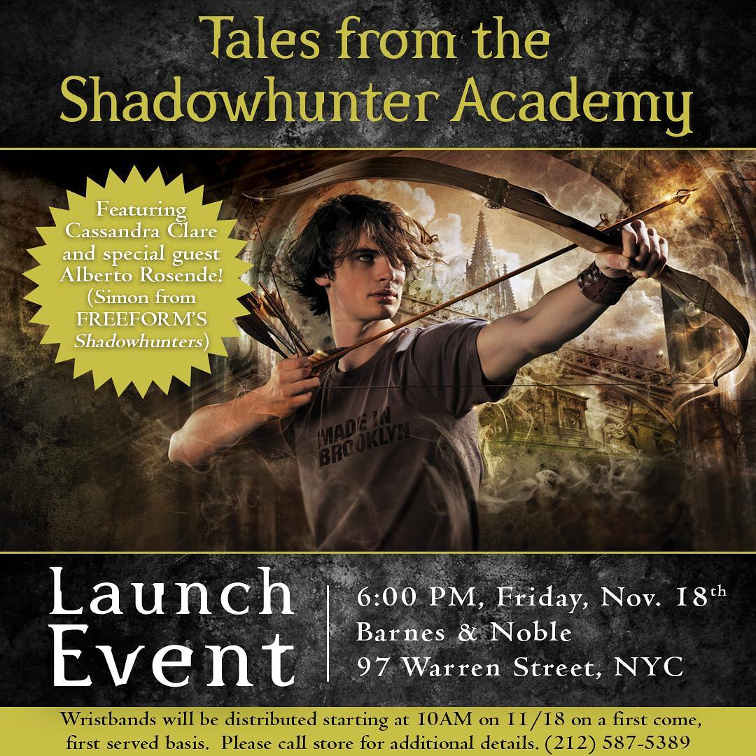 Shadowhunters - Cassandra Clare and Alberto Rosende Will Be In NYC To Debut A New Shadowhunters Book! - 1003
